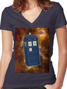 TARDIS in Space II Women's Fitted V-Neck T-Shirt
