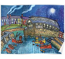 Quay and boats, Aberaeron Poster