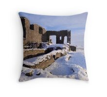 Kendal Castle in Winter Throw Pillow