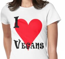 I Love Vegans Womens Fitted T-Shirt