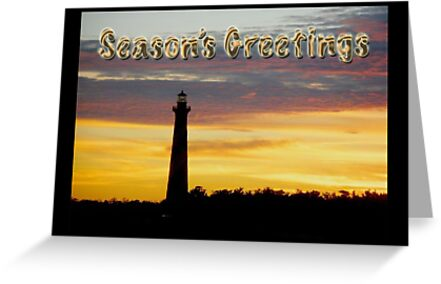 Season's Greetings Card - Cape Hatteras Lighthouse Sunset by MotherNature