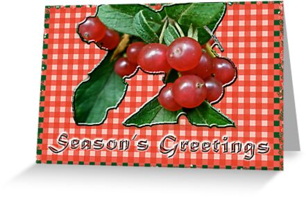 Season's Greetings Card - Honeysuckle Berries on Gingham by MotherNature