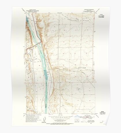 USGS Topo Map Washington State WA Vantage 244459 1954 24000 Poster