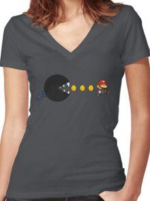 chomp-man Women's Fitted V-Neck T-Shirt
