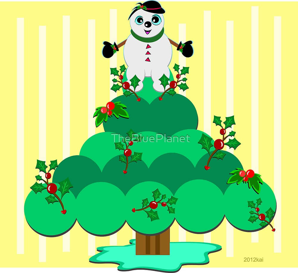 Merry Christmas Snowman Tree by TheBluePlanet