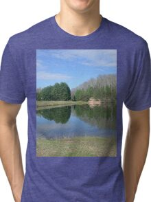Rustic Lake of Blue and Green Tri-blend T-Shirt