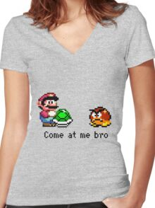Come at me Bro (Mario) Women's Fitted V-Neck T-Shirt