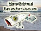 Merry Christmas Greeting Card - Vintage Saltwater Fishing Lure by MotherNature