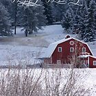 Happy Holidays Red Barn by Jeri Stunkard