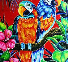 """Parrots''  2.300$ original oil on canvas. by Marina Terkulova -Tesch"
