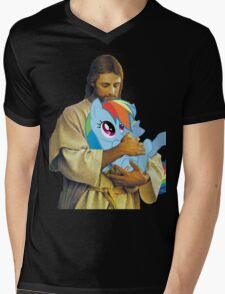 Jesus Loves Rainbow Dash Mens V-Neck T-Shirt