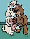 Teddy Bear And Bunny - Carrot Juice by Brett Gilbert