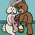 Teddy Bear And Bunny - Carrot Juice by Brett Gilbert