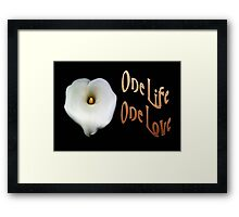 "Calla Lily Isolated on Black ""One Life, One Love"" Greeting Framed Print"