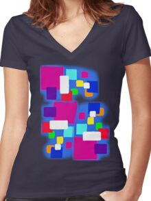BOXES BLUE   TEE SHIRT.KIDS TEE/BABY GROW/STICKER Women's Fitted V-Neck T-Shirt