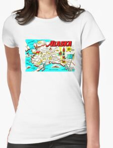Vintage Alaskan Map Design Womens Fitted T-Shirt