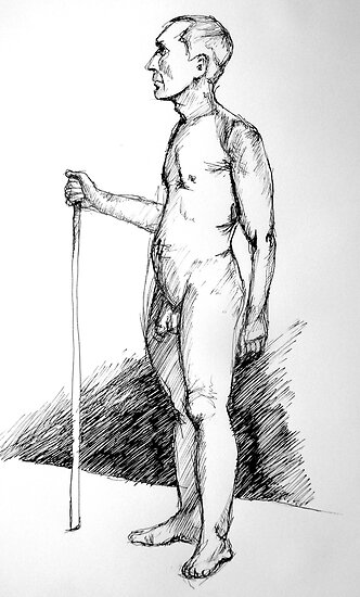 Life drawing: the man with a stick by Sanne Thijs