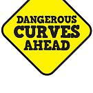 BEWARE yellow road dangerous curves ahead warning sign by jazzydevil