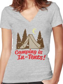 Camping Is In-Tents Women's Fitted V-Neck T-Shirt