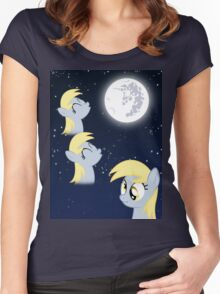 Three Derp Moon Women's Fitted Scoop T-Shirt