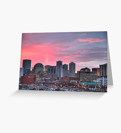 Sunrise Over Downtown Edmonton Greeting Card