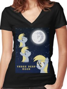Three Derp Moon (with text) Women's Fitted V-Neck T-Shirt