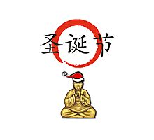 Happy Christmas Meditating Buddha Photographic Print