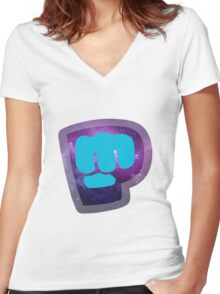 Galaxy Bro Fist Women's Fitted V-Neck T-Shirt