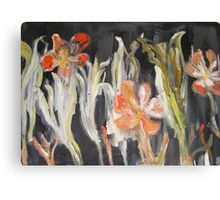 Christmas flowers (in red, green and black) Canvas Print