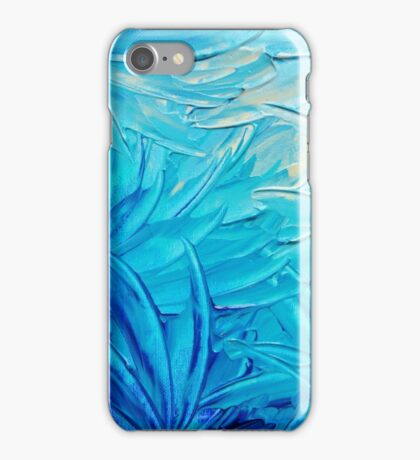 WATER FLOWERS - Beautiful Water Ocean Theme Shades Blue Floral Modern Design Abstract Painting iPhone Case/Skin