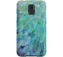 SEA SCALES - Beautiful BC Ocean Theme Peacock Feathers Mermaid Fins Waves Blue Teal Abstract Samsung Galaxy Case/Skin