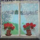 Geraniums on the window sill by Ruth Vilmi