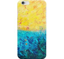 THE DIVIDE - Stunning Bold Colors, Ocean Waves Sun, Modern Beach Chic Theme Abstract Painting iPhone Case/Skin