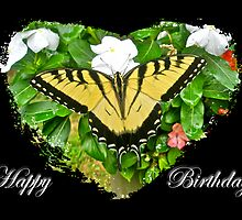 Birthday Greeting Card - Tiger Swallowtail Butterfly by MotherNature