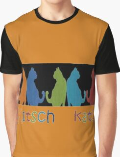 Kitsch Cats Silhouette Cat Collage Pattern on Black Graphic T-Shirt