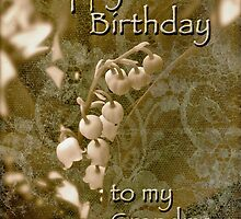 Grandma Birthday Greeting Card - Lily of the Valley - Sepia by MotherNature