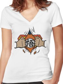 Super saiyan man Women's Fitted V-Neck T-Shirt