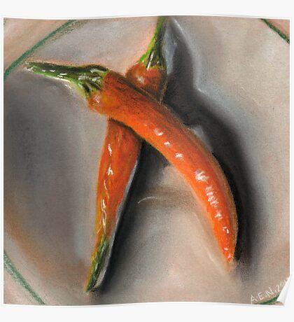 Orange Fogo Peppers Poster
