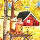Milk churns - beautiful autumn landscape by Ruth Vilmi