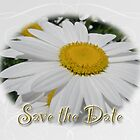 Save The Date Greeting Card - White Daisy Wildflower by MotherNature