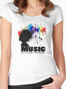 MUSIC IS EVERYWHERE Women's Fitted Scoop T-Shirt