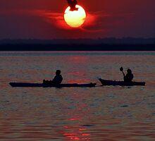 Heron & Kayakers Sunset by BeachBumPics