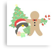 Penguin & Gingerbread #1 Canvas Print