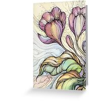Crocus.Hand drawn watercolor and ink drawing Greeting Card