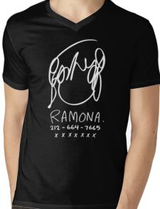Ramona Flowers (on Black) Mens V-Neck T-Shirt