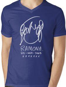Ramona Flowers (on Black) Mens V-Neck T-Shirt