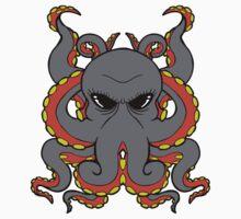 Insane Octopus Illustration. One Piece - Short Sleeve