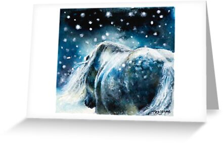 Highland Pony in Snow by AnEquineArt