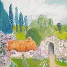 Country cottage - surrounded by pink rose bushes and arch by Ruth Vilmi