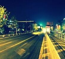 Changzhou road at night, China by Chris Millar